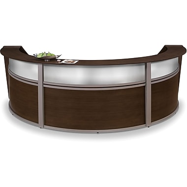 OFM Marque Triple-Unit Plexi-Reception Station, Walnut