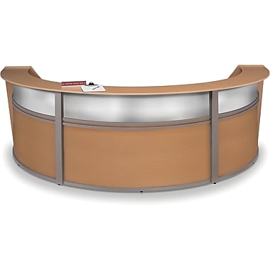 OFM Marque Triple-Unit Plexi-Reception Station, Maple