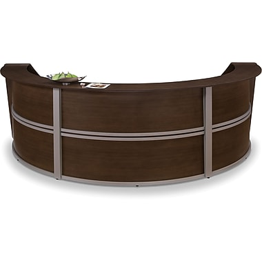 OFM Marque Triple-Unit Reception Station, Walnut