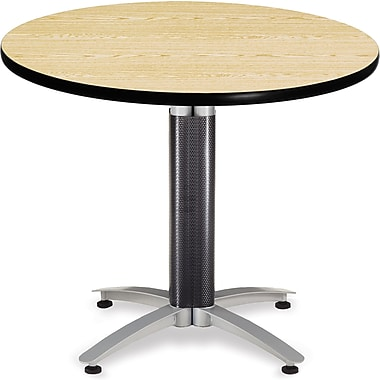 OFM 29 1/2in. x 36in. x 36in. Round Laminate Mesh Base Multi-Purpose Table, Oak