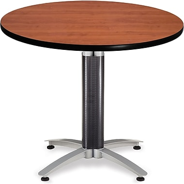 OFM 29 1/2in. x 36in. x 36in. Round Laminate Mesh Base Multi-Purpose Table, Cherry
