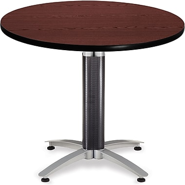 OFM 29 1/2in. x 36in. x 36in. Round Laminate Mesh Base Multi-Purpose Table, Mahogany