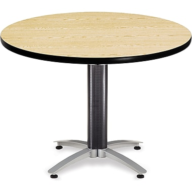 OFM 29 1/2in. x 42in. x 42in. Round Laminate Mesh Base Multi-Purpose Table, Oak