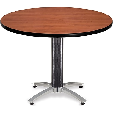 OFM 29 1/2in. x 42in. x 42in. Round Laminate Mesh Base Multi-Purpose Table, Cherry