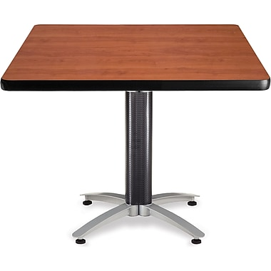 OFM 29 1/2in. x 42in. x 42in. Square Laminate Mesh Base Multi-Purpose Table, Cherry
