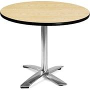 "OFM 29 1/2"" x 35 3/4"" x 35 3/4"" Round Laminate Flip-Top Multi-Purpose Table, Oak"