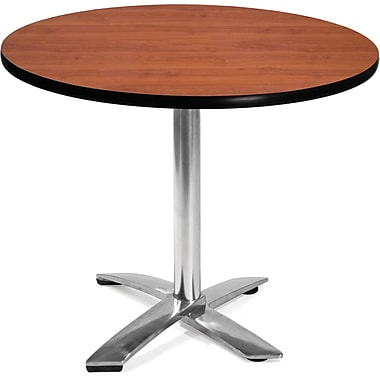 OFM 29 1/2in. x 35 3/4in. x 35 3/4in. Round Laminate Flip-Top Multi-Purpose Table, Cherry