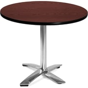 "OFM 29 1/2"" x 35 3/4"" x 35 3/4"" Round Laminate Flip-Top Multi-Purpose Table, Mahogany"