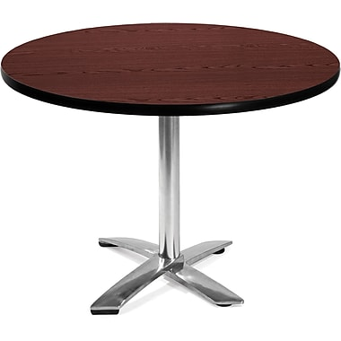 OFM 29 1/2in. x 42in. x 42in. Round Laminate Flip-Top Multi-Purpose Table, Mahogany