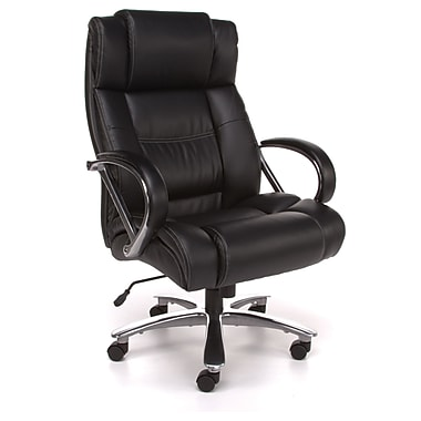 OFM Avenger Big and Tall Leather High-Back Executive Chair, Black