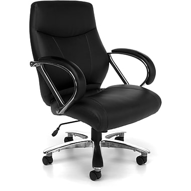 OFM Avenger Big and Tall Leather Mid-Back Executive Chair, Black