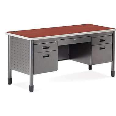 OFM Steel Double Pedestal Teacher's Desk, Cherry