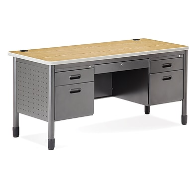 OFM Steel Double Pedestal Teacher's Desk, Oak
