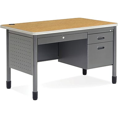 OFM Mesa Steel Single Pedestal Teacher's Desk, Oak