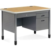 OFM Steel Single Pedestal Sales Desk, Oak