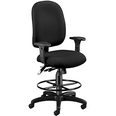 OFM 125-DK-805 AirFlo Polyester Task Chair and Drafting Kit with Adjustable Arms, Black