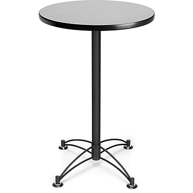 OFM 41in. x 23 3/4in. x 23 3/4in. Round Laminate Black Base Cafe Height Table, Gray Nebula