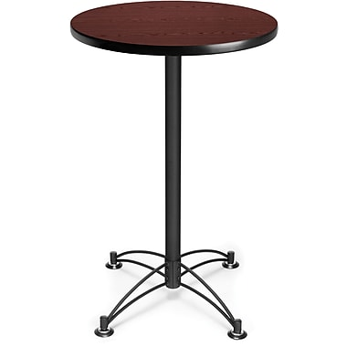 OFM 41in. x 23 3/4in. x 23 3/4in. Round Laminate Black Base Cafe Height Table, Mahogany