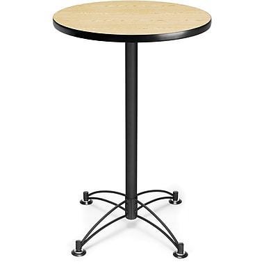 OFM 41in. x 23 3/4in. x 23 3/4in. Round Laminate Black Base Cafe Height Table, Oak