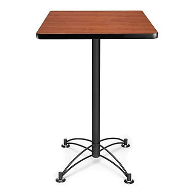 OFM 41in. x 23 3/4in. x 23 3/4in. Square Laminate Black Base Cafe Height Table, Cherry
