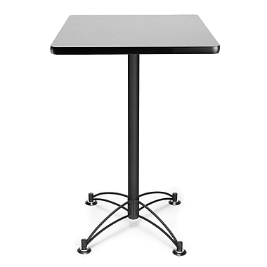 OFM 41in. x 23 3/4in. x 23 3/4in. Square Laminate Black Base Cafe Height Table, Gray Nebula