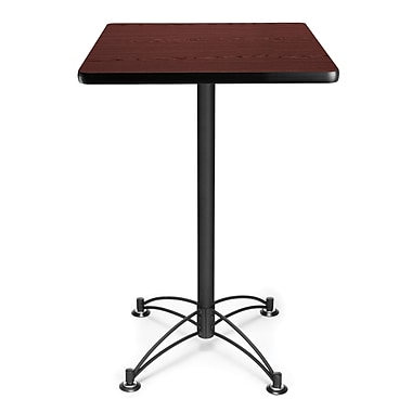 OFM 41in. x 23 3/4in. x 23 3/4in. Square Laminate Black Base Cafe Height Table, Mahogany