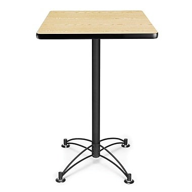 OFM 41in. x 23 3/4in. x 23 3/4in. Square Laminate Black Base Cafe Height Table, Oak