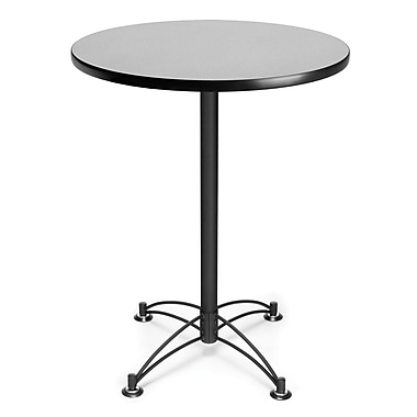 OFM 41 1/2in. x 30in. x 30in. Round Laminate Black Base Cafe Height Table, Gray Nebula