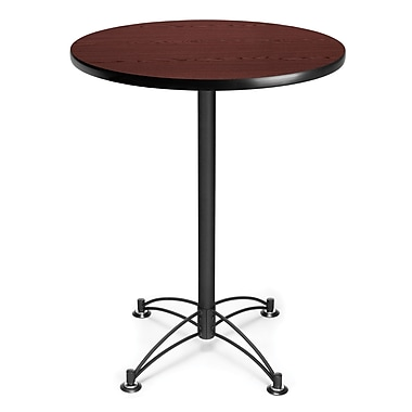 OFM 41 1/2in. x 30in. x 30in. Round Laminate Black Base Cafe Height Table, Mahogany