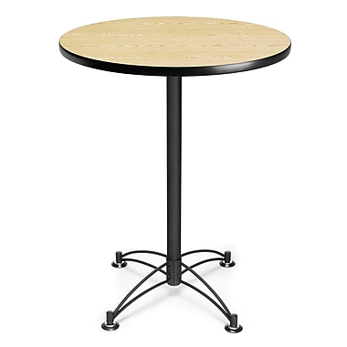 OFM 41 1/2in. x 30in. x 30in. Round Laminate Black Base Cafe Height Table, Oak