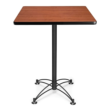 OFM 41in. x 30in. x 30in. Square Laminate Black Base Cafe Height Table, Cherry