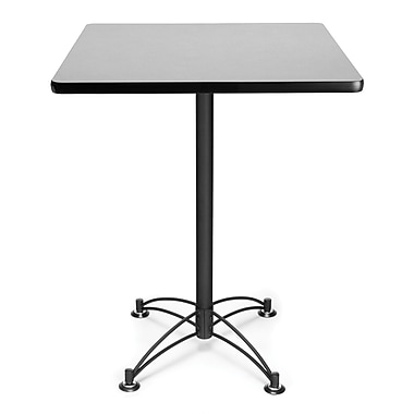 OFM 41in. x 30in. x 30in. Square Laminate Black Base Cafe Height Table, Gray Nebula