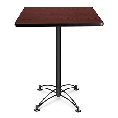 OFM 41in. x 30in. x 30in. Square Laminate Black Base Cafe Height Table, Mahogany