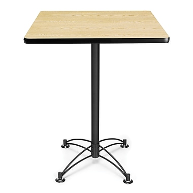 OFM 41in. x 30in. x 30in. Square Laminate Black Base Cafe Height Table, Oak