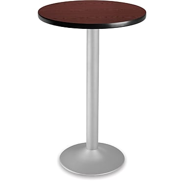 OFM 41 1/4in. x 23 3/4in. x 23 3/4in. Round Laminate Flip-Top Folding Cafe Height Table, Mahogany