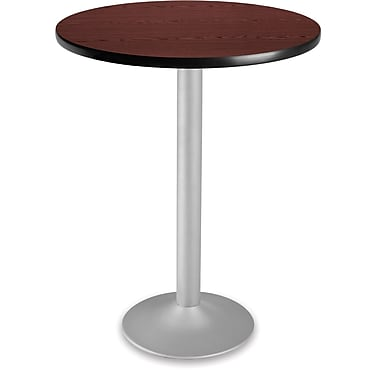 OFM 41 1/4in. x 30in. x 30in. Round Laminate Flip-Top Folding Cafe Table, Mahogany