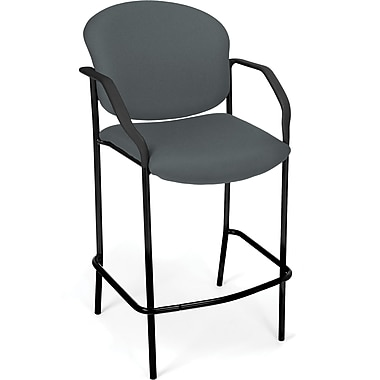 OFM Manor Fabric Cafe Height Chair With Arms, Gray