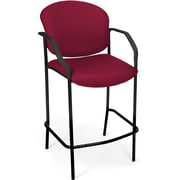 OFM Manor Fabric Cafe Height Chair With Arms, Wine