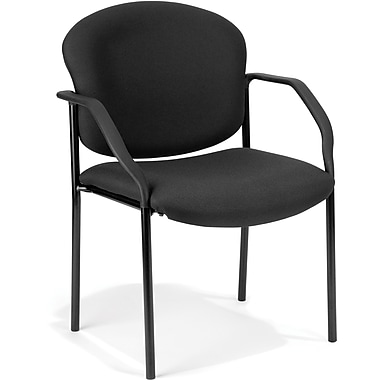 OFM Manor Fabric Guest/Reception Chair, Black
