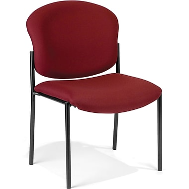 OFM Manor Fabric Armless Stack Chair, Wine