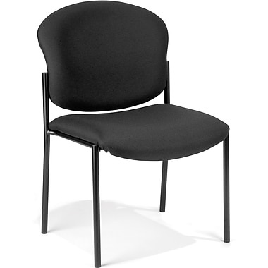 OFM Manor Fabric Armless Stack Chair, Black