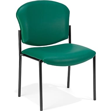 OFM Manor Vinyl Armless Guest/Reception Chair, Teal