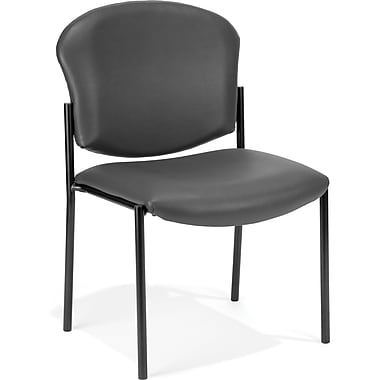 OFM Manor Vinyl Armless Guest/Reception Chair, Charcoal