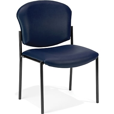 OFM Manor Vinyl Armless Guest/Reception Chair, Navy