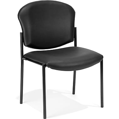 OFM Manor Vinyl Armless Guest/Reception Chair, Black