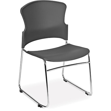 OFM Multi-Use Plastic Seat and Back Stack Chair, Gray