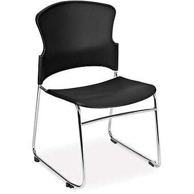 OFM Multi-Use Plastic Seat and Back Stack Chair, Black