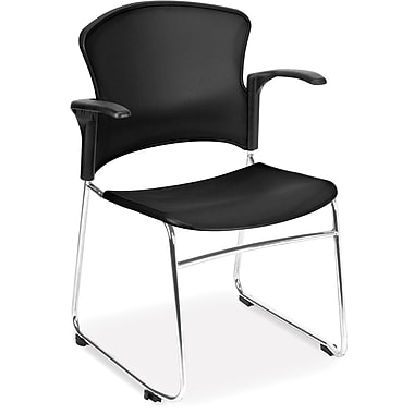 OFM Plastic Seat and Back Multi-Use Chair With Arms, Gray