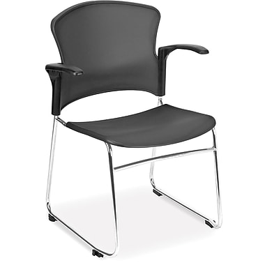 OFM Plastic Seat and Back Multi-Use Chair With Arms, Black