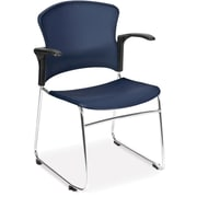 OFM Plastic Seat and Back Multi-Use Chair With Arms, Wine